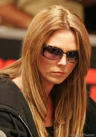 Clonie sporting her shades at the poker table